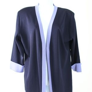 Misook navy blue purple trim cardigan 3/4 sleeve